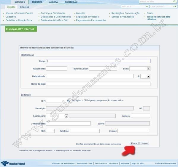 CPF - Formulário online para inscrição