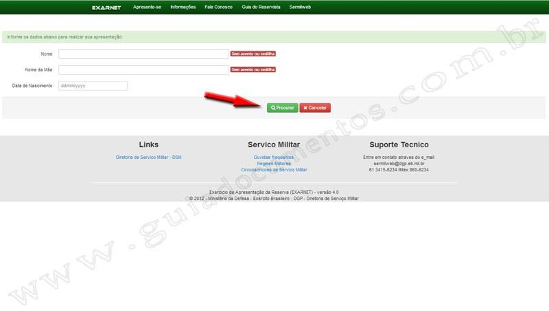 Certificado de Reservista - Apresentação do Reservista pela Internet