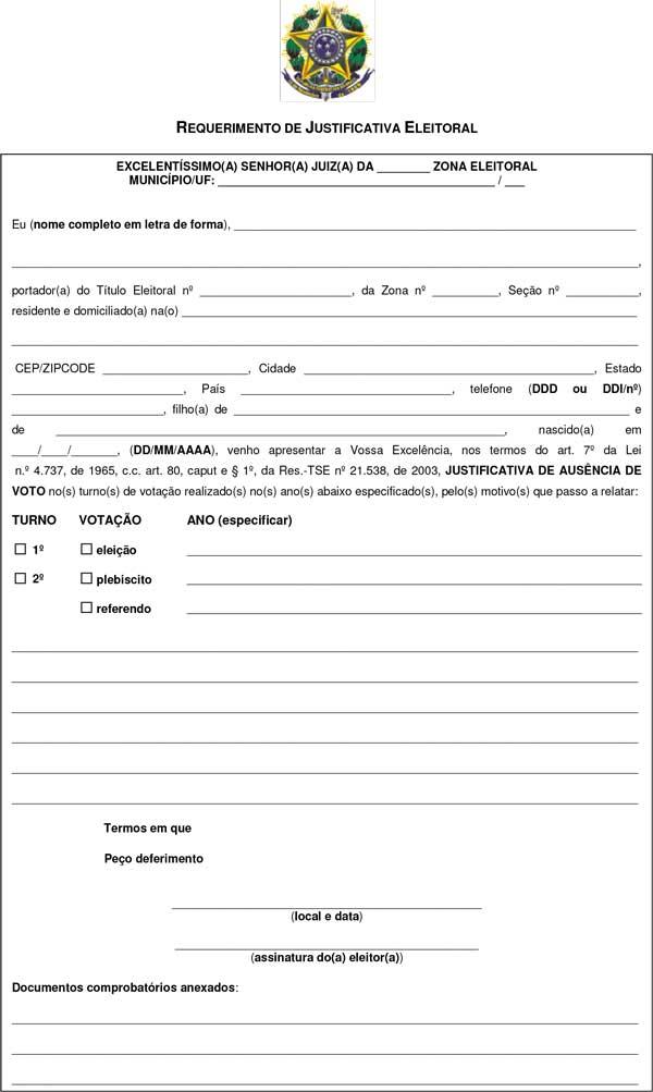 Formulário para justificar o voto - Baixe aqui