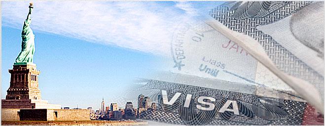 Visto Americano Negado - Colagem de imageins das estátua da liberdade com a cártula do visto americano