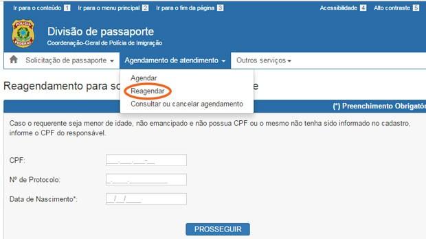 Agendamento passaporte - Como fazer o reagendamento