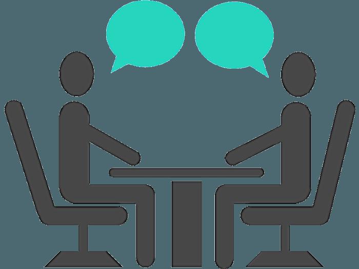 desenho de uma mesa de reunião onde está ocorrendo uma entrevista de emprego