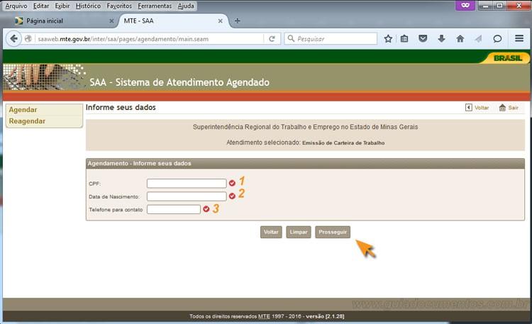 Agendamento da Carteira de Trabalho - Dados pessoais do solicitante