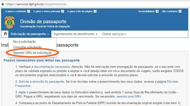 Agendamento passaporte - reemissão da gru