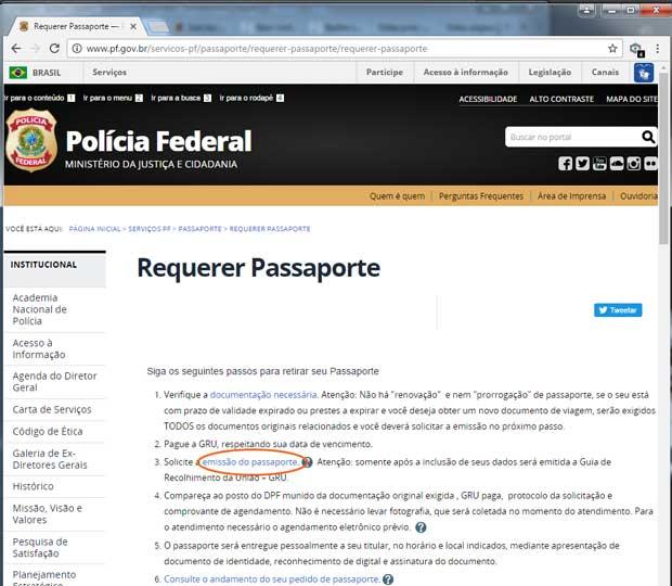 Acesso ao formulário de requerimento do Passaporte Brasileiro