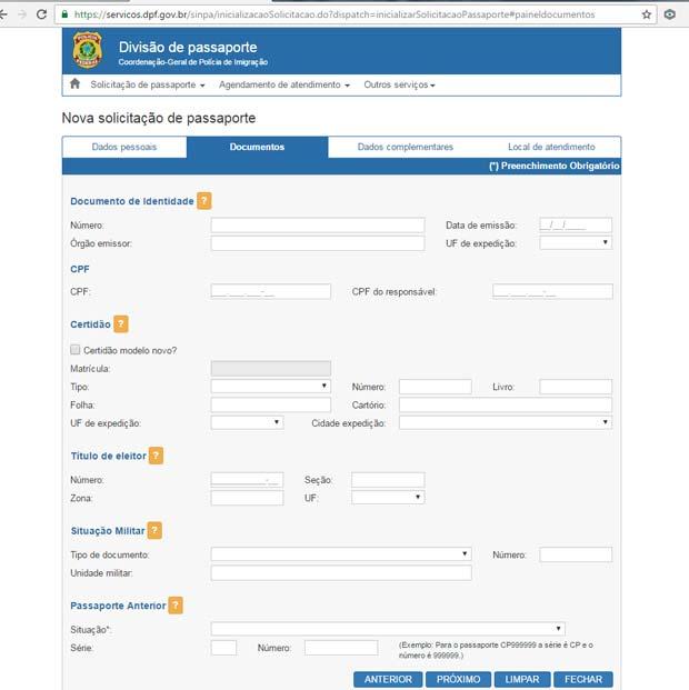 Como Tirar o Passaporte Brasileiro - Aba Documentos
