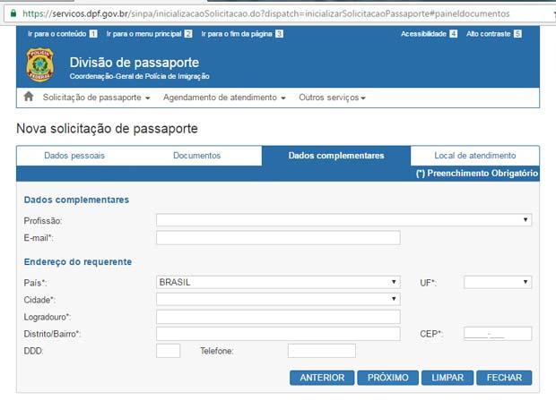 Como tirar passaporte brasileiro - Aba Dados Complementares